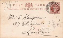 England 1887 - Half Penny Ganzsache Auf Pk Von Birmingham > London - Used Stamps