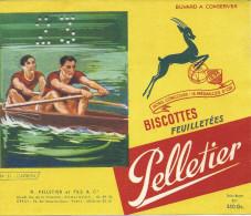 Buvard Biscottes Pelletier, L´aviron, N°51, Scan Coupé à Gauche Mais Buvard Complet, Perforé - Biscottes