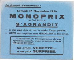 buvard monoprix alfortville s�agrandit, samedi 17 novembre 1956, bordures coup�es au scan mais buvard complet