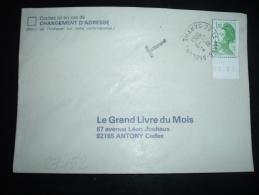 LETTRE TP LIBERTE 1,70F BORD DE FEUILLE DATE 29.01 OBL. 27-8-1985 LE MANS-SABLONS SARTHE (72) + CACHET T TAXE - Manual Postmarks