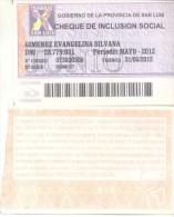 CHEQUE DE INCLUSION SOCIAL PROVINCIA DE SAN LUIS REPUBLICA ARGENTINA AÑO 2012 - Argentina