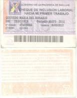 CHEQUE DE INCLUSION LABORAL HACIA MI PRIMER TRABAJO  PROVINCIA DE SAN LUIS REPUBLICA ARGENTINA AÑO 2012 - Argentina