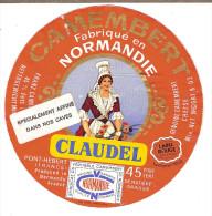 Etiquette De  CAMEMBERT De Normandie : CLAUDEL 002-1968 / Pont-Hébert 50 Manche / Bon Etat/ FAIRE OFFRE !!! - Cheese