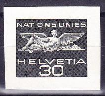 CH Dienst Probedruck Nations-Unies 1955 30Rp. In Schwarzgrau Einzelabzug Bickel-Archiv Rückseite Bickel Stempel Selten - Service