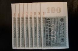 Deutschland, Germany - Set = 8 X 100 Mio. Mark, Reichsbanknote, Ro. 106 E,  ( Serie H ) UNC ( I ), 1923 ! - 100 Mio. Mark