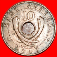 *CURVED TUSKS* EAST AFRICA 10 CENTS 1943 NO RESERVE! - British Colony