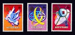 Aitutaki 1983 World Communications Year Set Of 3 MNH - Aitutaki