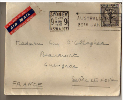 Lettre Avion - AUSTRALIE - SYDNEY FRANCE - 1952 - - Marcophilie (Lettres)