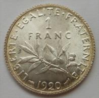 1 Franc Semeuse Argent 1920 SPLENDIDE , Cote En SPL 7€ - H. 1 Franc
