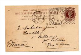 Entier Postal Grande Bretagne 1892 Trés Belle Oblitération - Stamped Stationery, Airletters & Aerogrammes