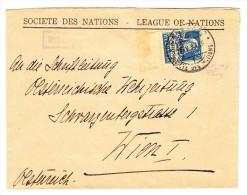 Schweiz 1932 Société Des Nations SDN  #20z Mi.#19z Tellbrustbild 30Rp.blau Auf Brief 27.IV.34 Genève 10 Nach Wien Attest - Service