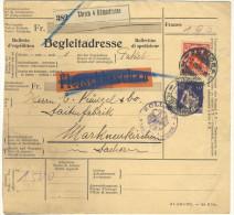 Schweiz Michel No. 171 , 195 auf Paketkarte Paketbegleitschein