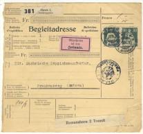 Schweiz Michel No. 107 Paar auf Paketkarte Paketbegleitschein
