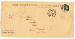 Société Des Nations SDN 50Rp. Grün Helvetia Mit Schwert Zu.#8 Auf Brief Nach Shanghai China Mit AK-Stempel - Service
