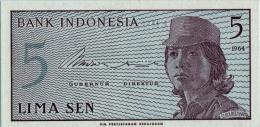 INDONESIA 5 SEN BANKNOTE 1964 PICK NO.91 UNCIRCULATED UNC - Indonesia