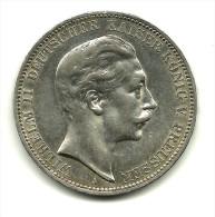 Duitsland Preussen, 3 Mark, 1909  Wilhelm II - 2, 3 & 5 Mark Zilver