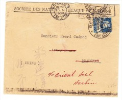 Société Des Nations SDN 30Rp. Blau Tellbrust Zu.#20 Auf Brief Nach Shanghai China Mit AK-Stempel - Service