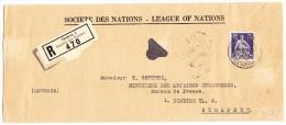 Société Des Nations SDN 70Rp. Blauviolett Helvetia Mit Schwert Zu.#22 Auf R-Brief Nach Budapest Mit AK-Stempel - Dienstpost