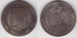 10 CENTIMES NAPOLEON III LAURE 1863 K, TB  (voir Scan) - France