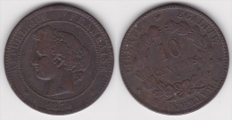 10 CENTIMES CERES 1874 K, TB  (voir Scan) - D. 10 Centimes