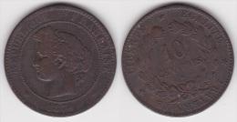 10 CENTIMES CERES 1874 K, TB  (voir Scan) - France
