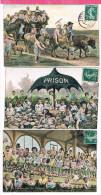 Fantaisie Avec Enfants , Prison , Attelage , Les Courses Tribunes - Humorkaarten