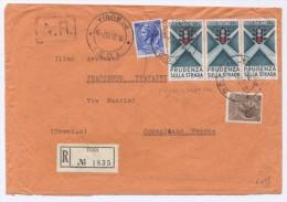 M079 -RACC.TA 18.12.1957 DA TODI PER CONEGLIANO - BL. 3X25 L. EDUCAZIONE STRADALE (N°815)+20L.+ 60L. TURRITA (N°768-774) - 1946-60: Marcophilie