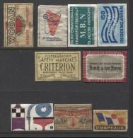 9  X Pieces  MATCHBOX LABEL / Luciferetiket / Dutch - France-Sweden - Matchbox Labels