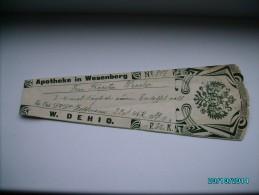 1911 IMPERIAL RUSSIA   ESTONIA   RARE!  PHARMACY DRUG  LABEL  1 ,  W. DEHIO   , 0 - Vecchi Documenti