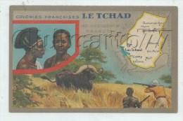 Tchad : Carte g�ographique et illustration chasse au bufle en 1930 (anim�) PF.