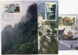 CHINE 1995 / 6 CARTES MAXIMUM MONTAGNES DE JIUHUA - 1949 - ... République Populaire