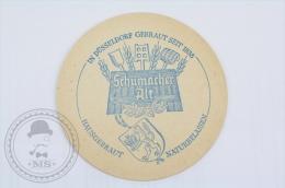 Vintage Advertising Beer Coaster Schumacher Alt - In Düsseldorf Gebraut Seit 1838 - Beer Mats - Beer Mats