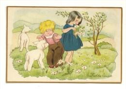 Couple D´enfants Dans Une Prairie, Agneaux, Marguerites. Signée Freddie L...? - Illustrateurs & Photographes