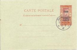 TOGO- ENTIER POSTAL OCCUPATION FRANCO-BRITANNIQUE  Obl SOKOJE 13.8.17   TBE - Togo (1914-1960)
