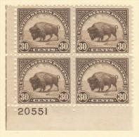 USA SC #700 MNH PB4 1931 30c American Buffalo #20551, CV $95.00 - Plate Blocks & Sheetlets