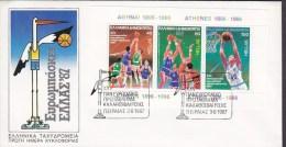 Greece FDC Cover 1987 Block 6 Miniature Sheet Basketball-Europameisterschaften - FDC