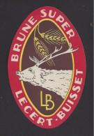 Etiquette De Bière  Brune Super  -  Lecert   Buisset à La Neuville Aux Joutes   (08)  -  Thème Cerf - Bière