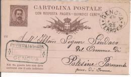 STORIA POSTALE, UMBERTO I,impronta Sinistra,DOM,mill.87,VIAG GIATA  1987, GENOVA-POLESINE PARMENSE, - 1878-00 Umberto I