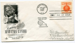 ETATS-UNIS THEME GANDHI ENVELOPPE PREMIER JOUR OBLITERATION WASHINGTON  JAN 26  1961 - Mahatma Gandhi