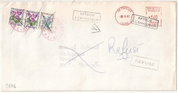 TAXE 2F30  Annulée GONCELIN En Rouge , CROLLES Isère,  RETOUR A L 'ENVOYEUR, REFUSE. L2 - Postmark Collection (Covers)