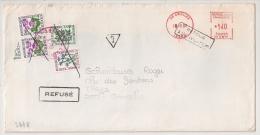 TAXE 2F30  Annulée GONCELIN En Rouge , CROLLES Isère,  RETOUR A L 'ENVOYEUR, REFUSE. L4 - Postmark Collection (Covers)