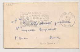 NON TAXEE ! ST OUEN Seine Son Marché  Aux Puces 1964. Curiosité Peu Commune ! - Postmark Collection (Covers)