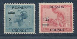 RUANDA URUNDI GEA 1931 ISSUE COB 90/91 MNH