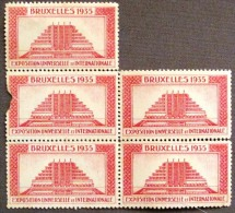 5 Vignettes Exposition Universelle Bruxelles1935 - PHOTO RECTO VERSO - Commemorative Labels