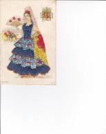CPA FANTAISIE FEMME BRODEE EVENTAIL BLASON ESPANA ESPAGNE CORRIDA - Embroidered