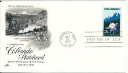 USA FDC 21-5-1977 Ciomemorating Colorado Statehood With ArtCraft Cachet - 1971-1980