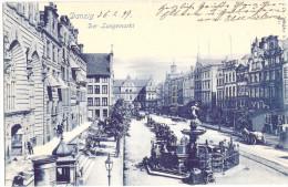 Danzig Der Langemarkt Blaudruck Belebt Pferde Wagen 6.2.1899 Gelaufen Fast TOP-Erhaltung - Danzig