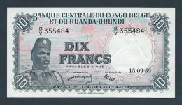 . Banque Centrale du Congo Belge et du Ruanda-Urundi - 10 Francs  - 15-09-1959 (aUNC - Krause #30b)