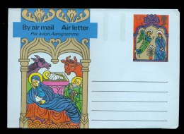 AEROGRAMME AEROGRAM STATIONERY 1975 * UNITED KINGDOM / GREAT BRITAIN * CHRISTMAS * 10 1/2 P 1st DAY CANCEL COW MINT - Stamped Stationery, Airletters & Aerogrammes
