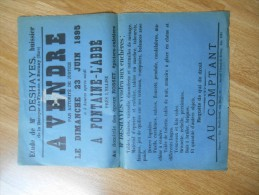 affiche :   eure ,  BERNAY  :  a  vendre  le 23 juin  1895 ( timbre-vignette) - (  �tude de  me  Deshayes , huissier)